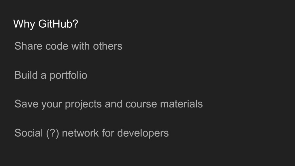 Why GitHub? Share code with others Build a port...
