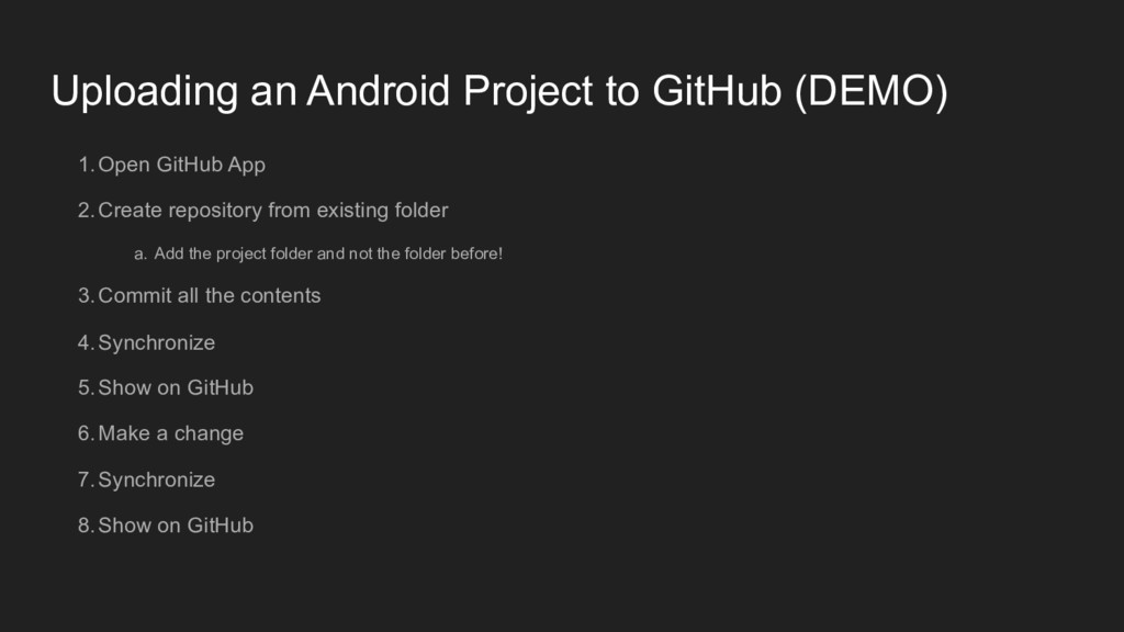 Uploading an Android Project to GitHub (DEMO) 1...