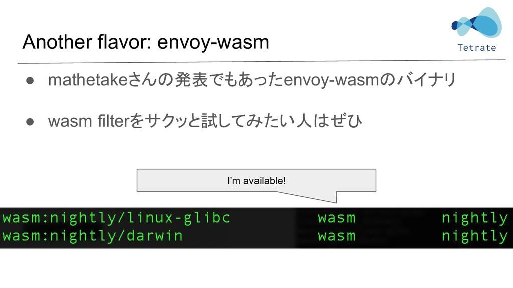Another flavor: envoy-wasm ● mathetakeさんの発表でもあっ...