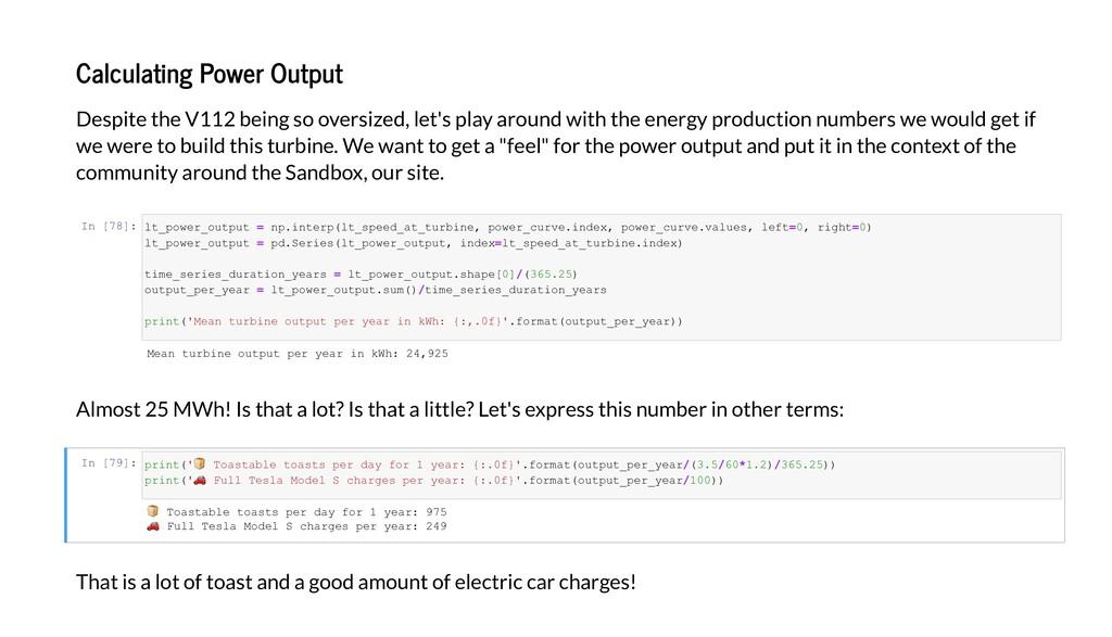 Calculating Po er Output De i e he V112 being e...