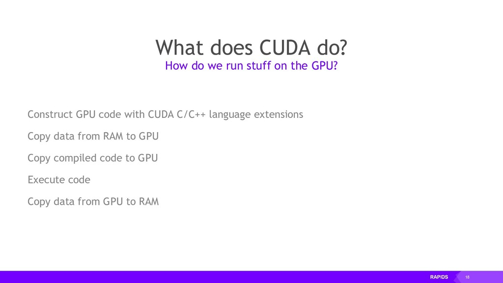18 What does CUDA do? Construct GPU code with C...