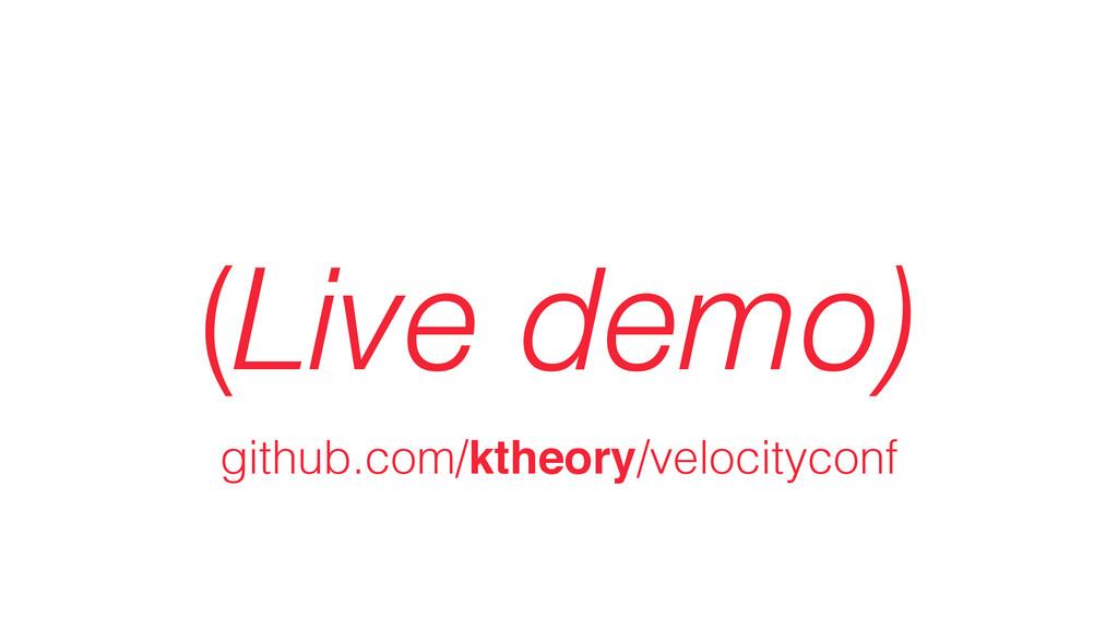 (Live demo) github.com/ktheory/velocityconf