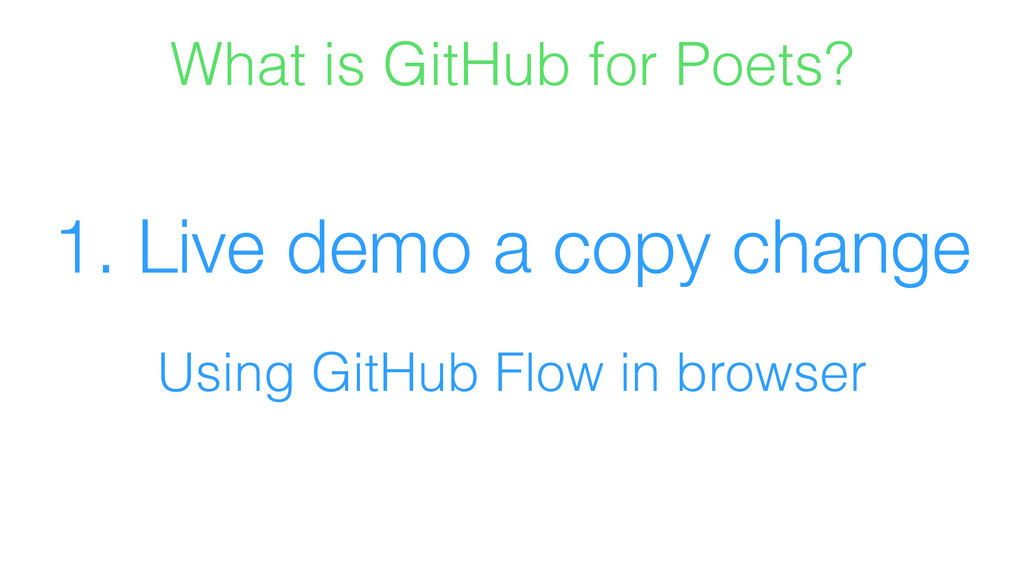 1. Live demo a copy change Using GitHub Flow in...