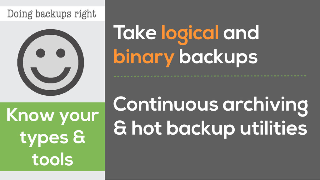 Doing backups right Know your types & tools Tak...