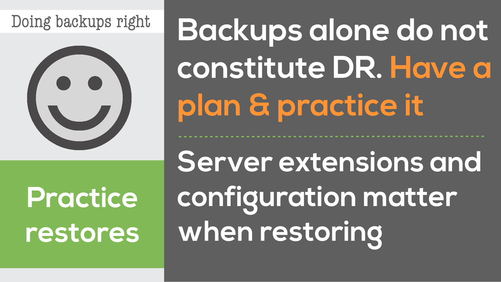 Doing backups right Practice restores Backups a...