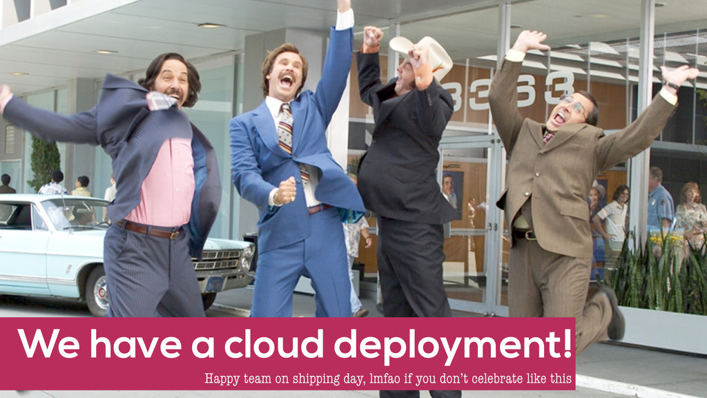 We have a cloud deployment! Happy team on shipp...