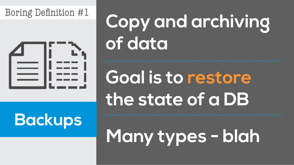 Boring Definition #1 Backups Copy and archiving ...