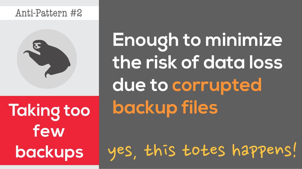 Anti-Pattern #2 Taking too few backups Enough t...