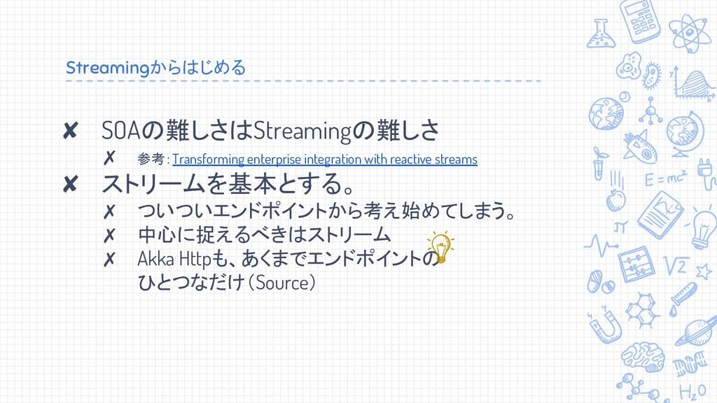 Streamingからはじめる ✘ SOAの難しさはStreamingの難しさ ✗ 参考:Tr...