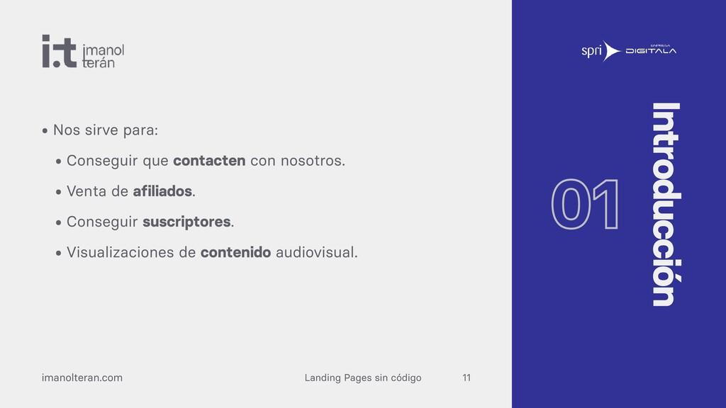 Landing Pages sin código imanolteran.com • Nos ...