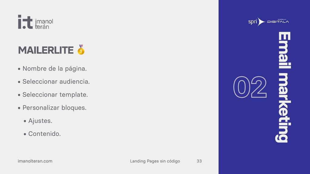 Landing Pages sin código imanolteran.com • Nomb...