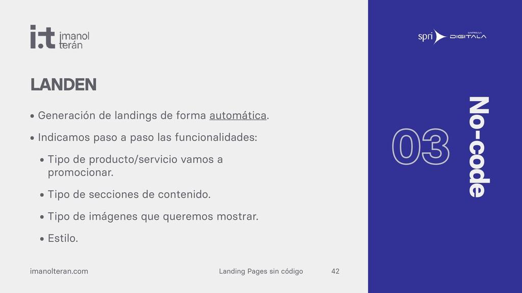 Landing Pages sin código imanolteran.com • Gene...