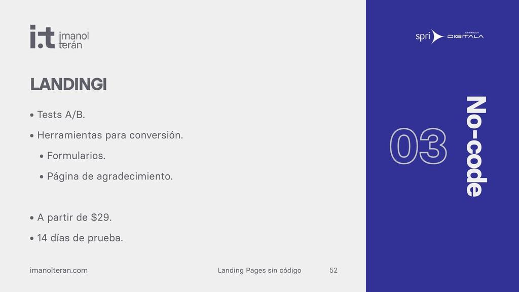 Landing Pages sin código imanolteran.com • Test...