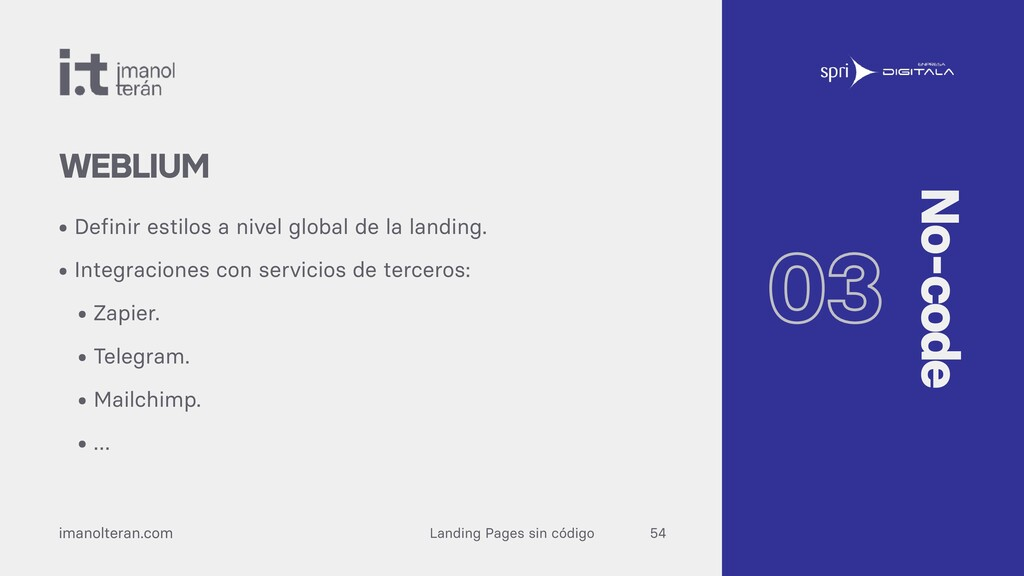 Landing Pages sin código imanolteran.com • Defi...