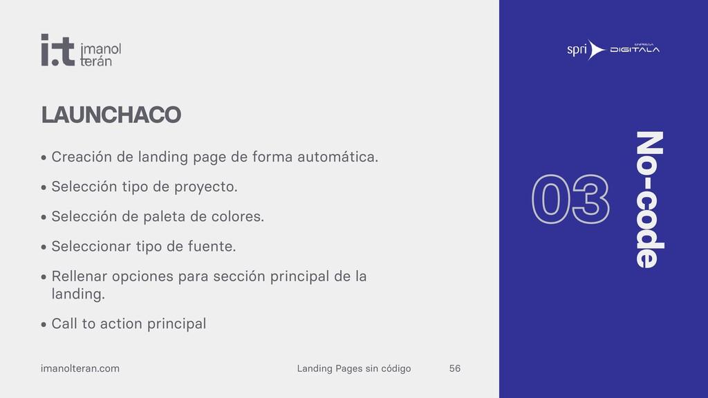 Landing Pages sin código imanolteran.com • Crea...