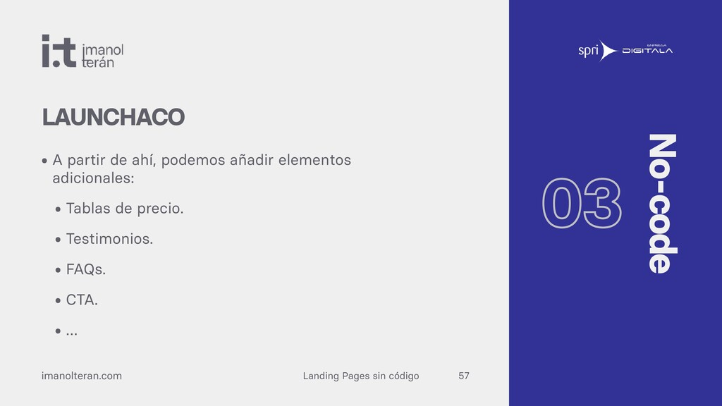 Landing Pages sin código imanolteran.com • A pa...