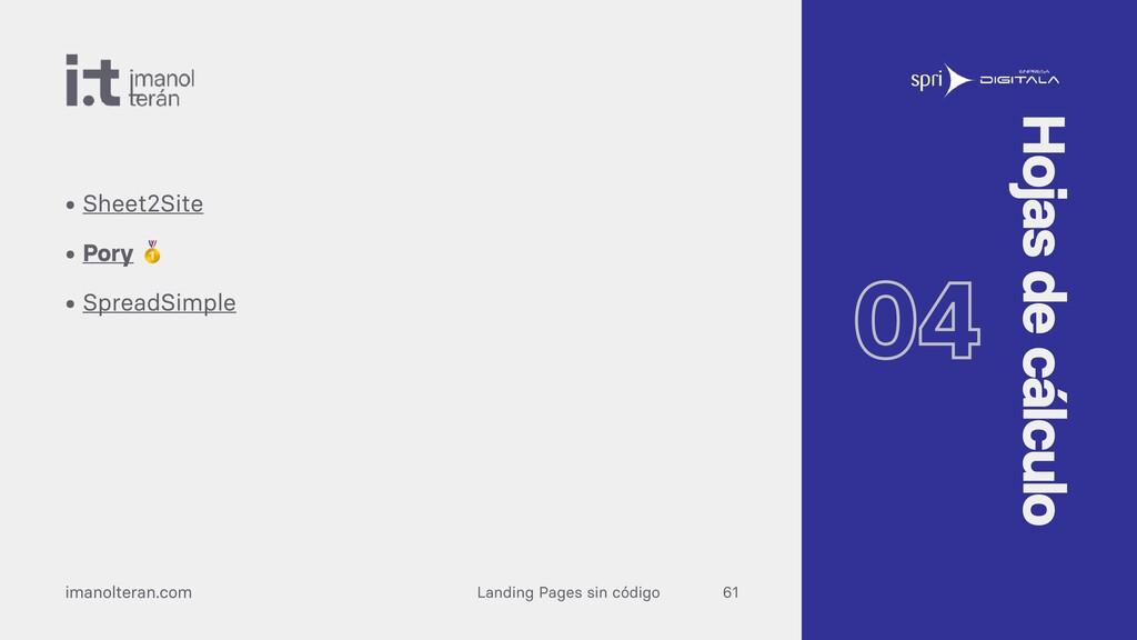 Landing Pages sin código imanolteran.com • Shee...