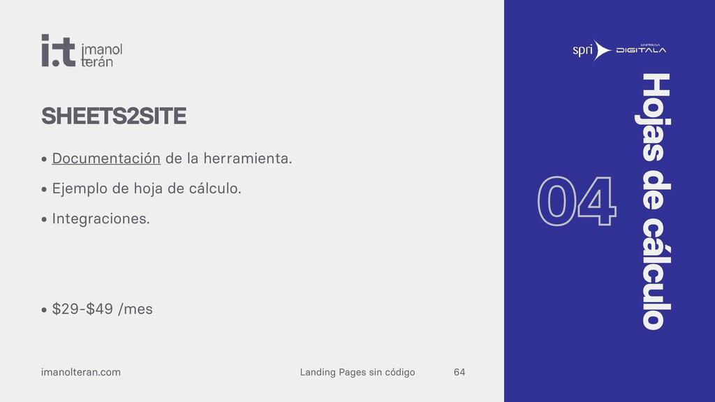 Landing Pages sin código imanolteran.com • Docu...