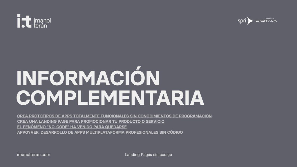 Landing Pages sin código imanolteran.com INFORM...