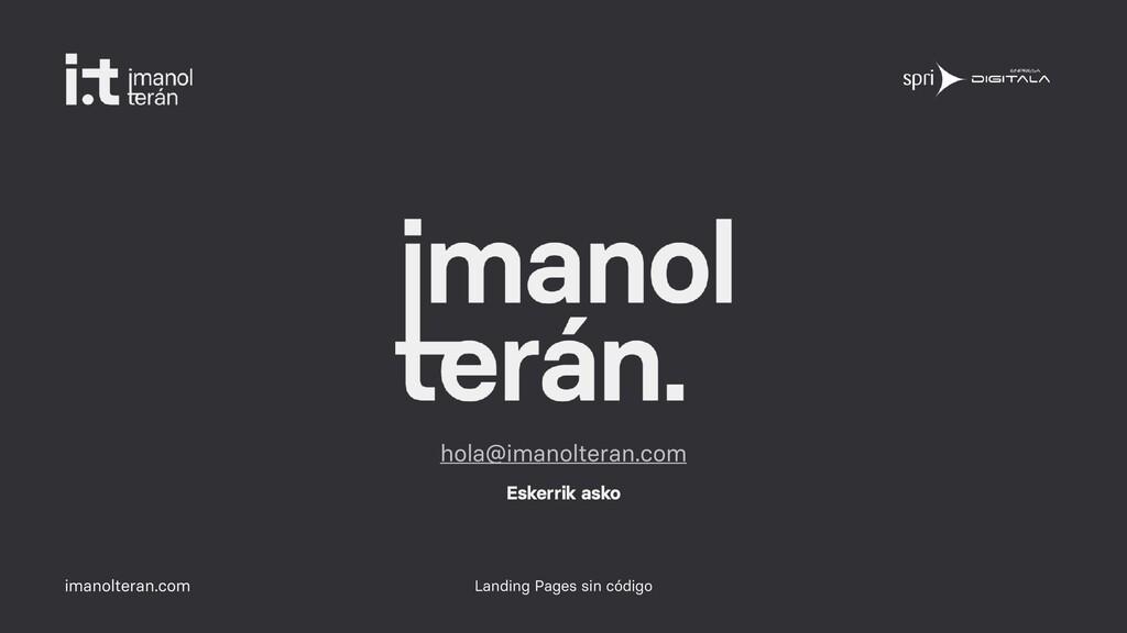 imanolteran.com Landing Pages sin código hola@i...