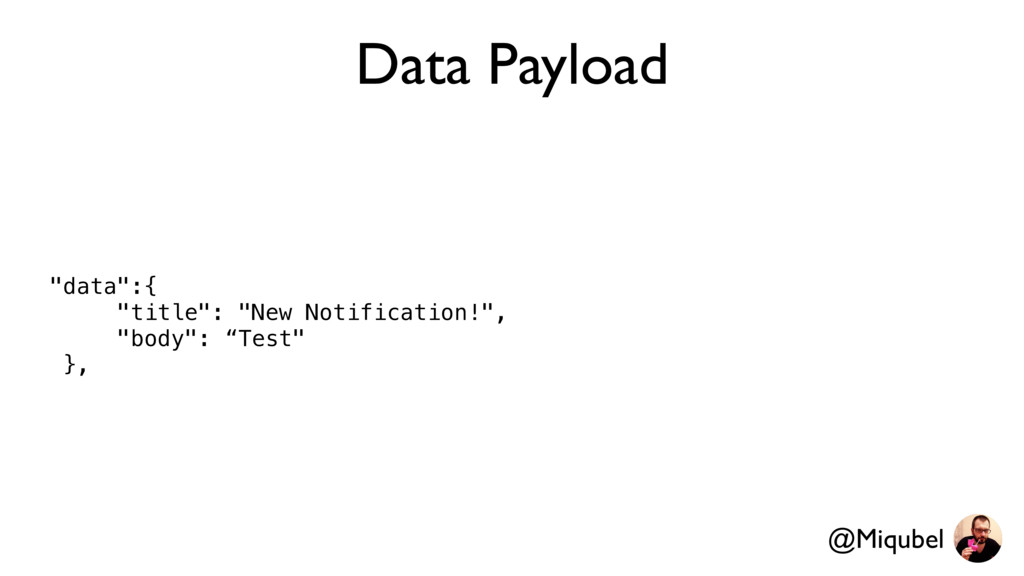 "Data Payload ""data"":{ ""title"": ""New Notificatio..."