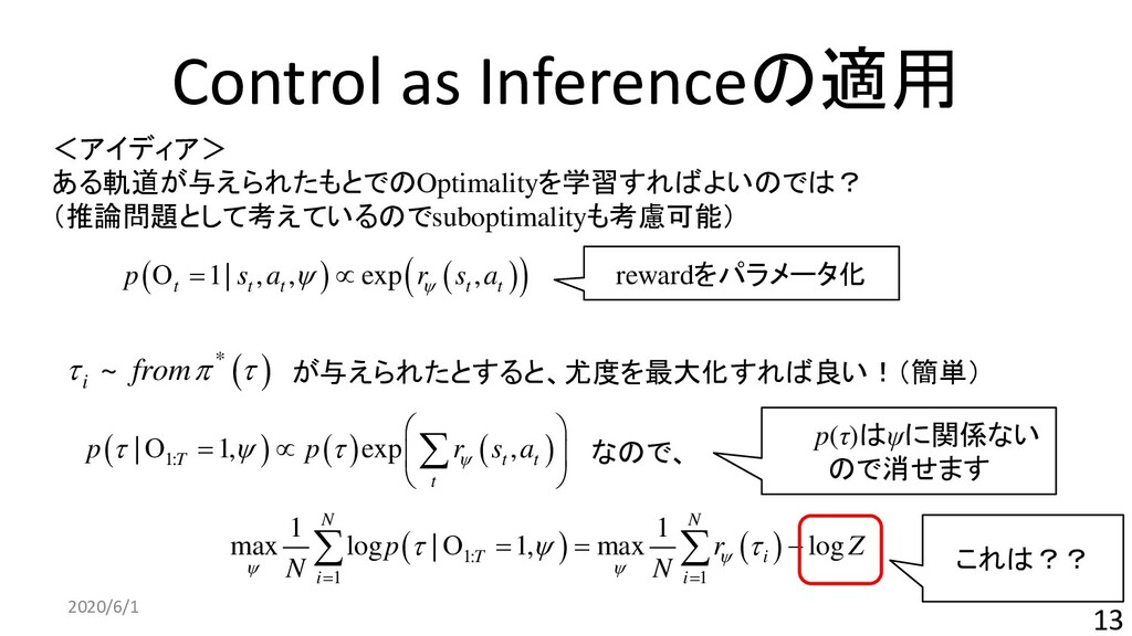 Control as Inferenceの適用 2020/6/1 13 ( ) ( ) ( )...