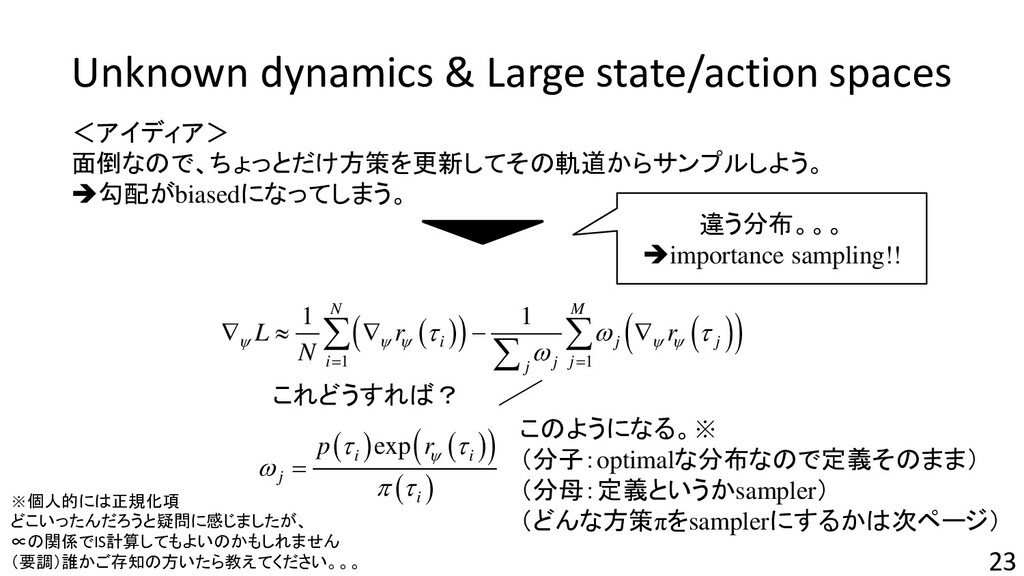 Unknown dynamics & Large state/action spaces 23...