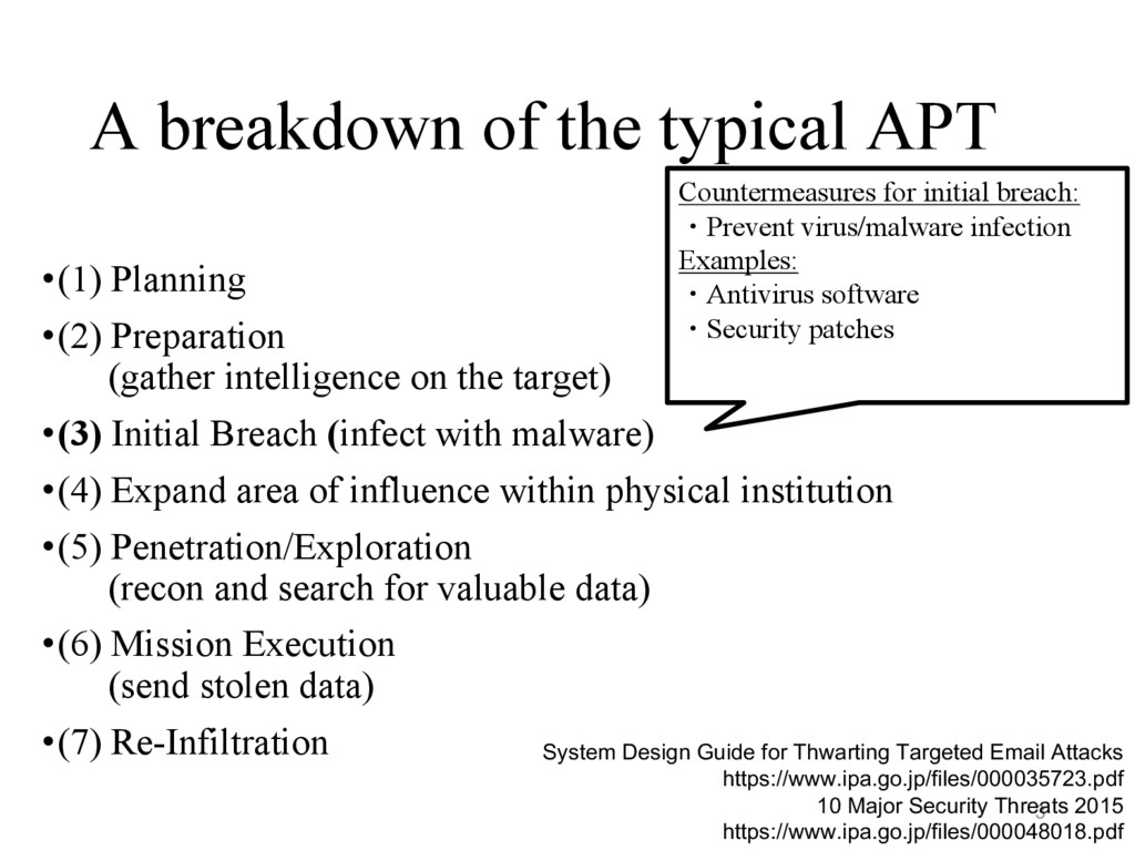 A breakdown of the typical APT •(1) Planning •(...