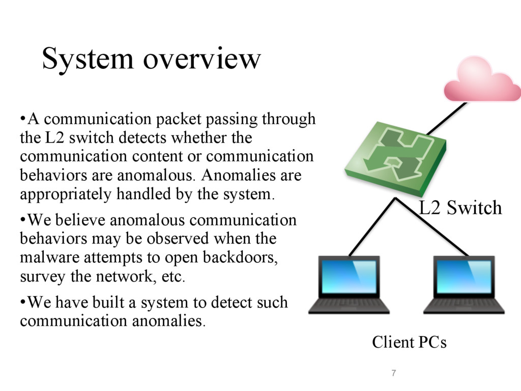 System overview •A communication packet passing...