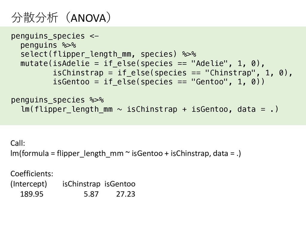 分散分析(ANOVA) penguins_species <- penguins %>% se...