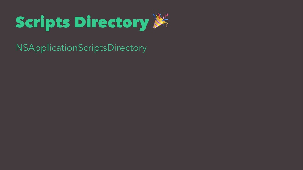Scripts Directory NSApplicationScriptsDirectory
