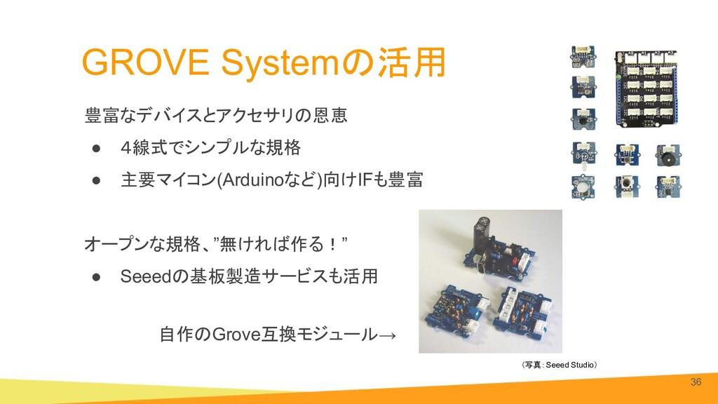 GROVE Systemの活用 豊富なデバイスとアクセサリの恩恵 ● 4線式でシンプルな規格 ...