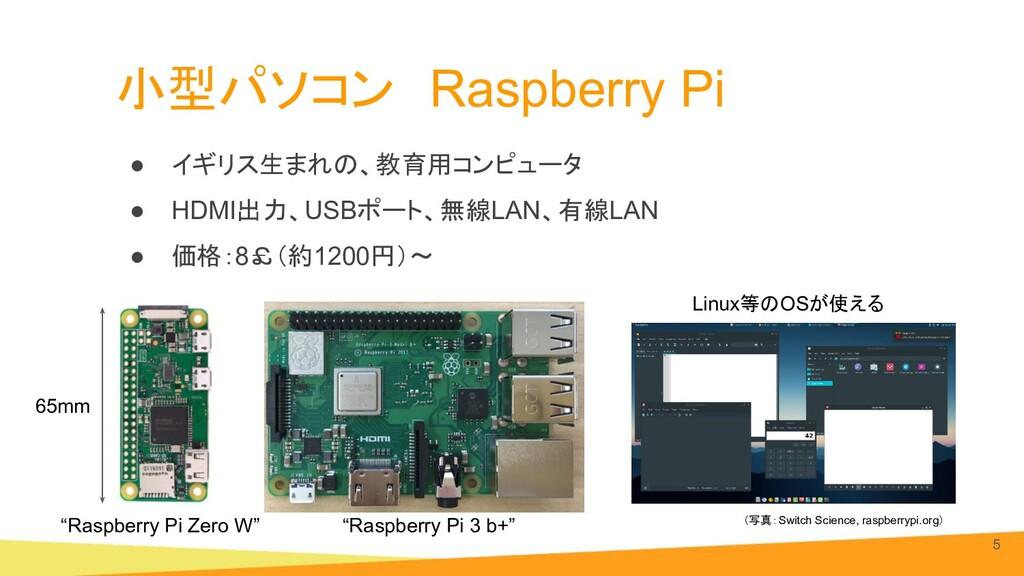 小型パソコン Raspberry Pi ● イギリス生まれの、教育用コンピュータ ● HDMI...