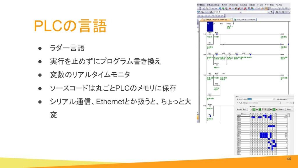 PLCの言語 ● ラダー言語 ● 実行を止めずにプログラム書き換え ● 変数のリアルタイムモニ...