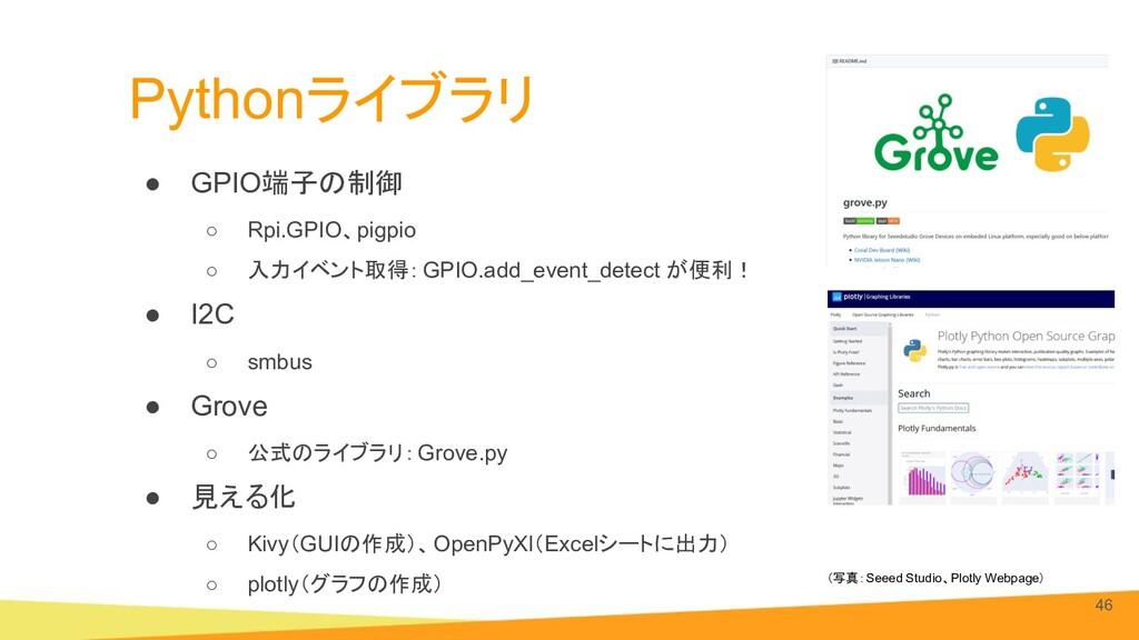 Pythonライブラリ ● GPIO端子の制御 ○ Rpi.GPIO、pigpio ○ 入力イ...
