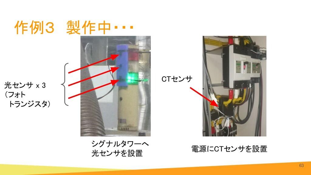 作例3 製作中・・・ 63 電源にCTセンサを設置 シグナルタワーへ 光センサを設置 C...
