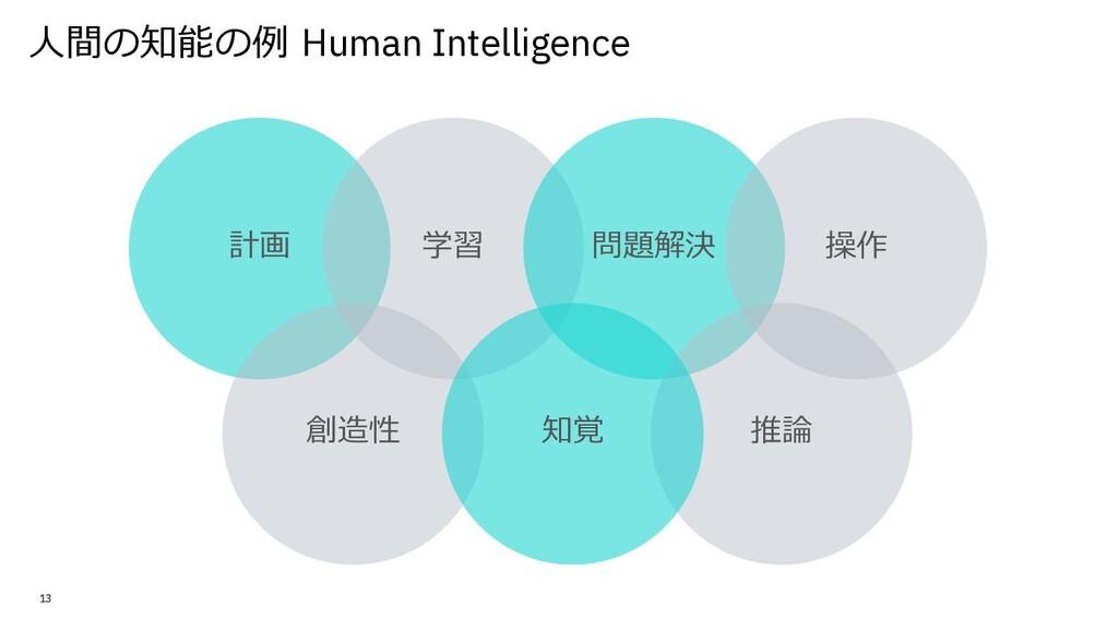 ⼈間の知能の例 Human Intelligence 13 計画 学習 創造性 問題解決 推論...