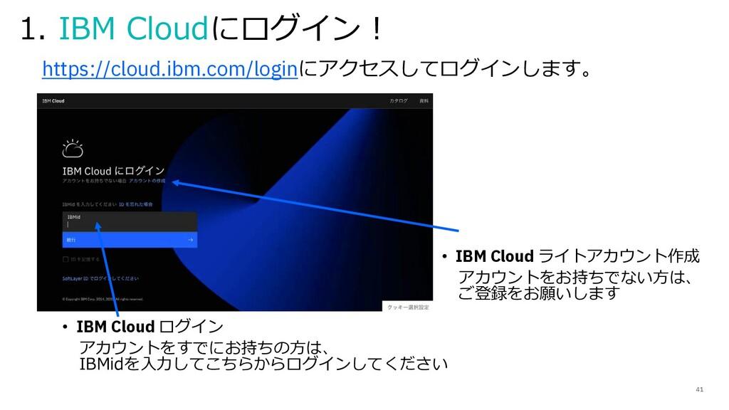 • IBM Cloud ログイン アカウントをすでにお持ちの⽅は、 IBMidを⼊⼒してこちら...