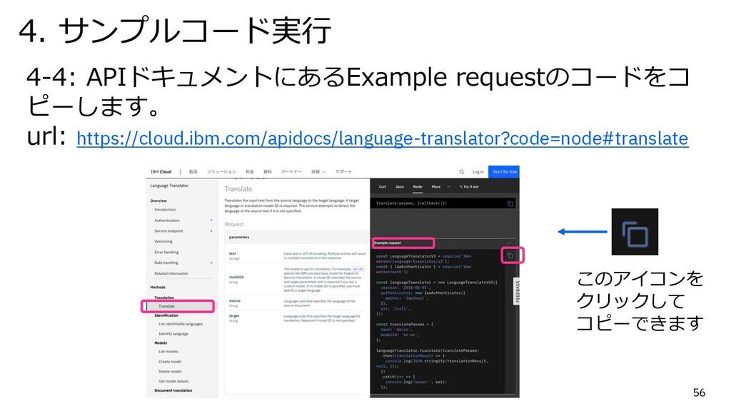 56 4-4: APIドキュメントにあるExample requestのコードをコ ピーします...