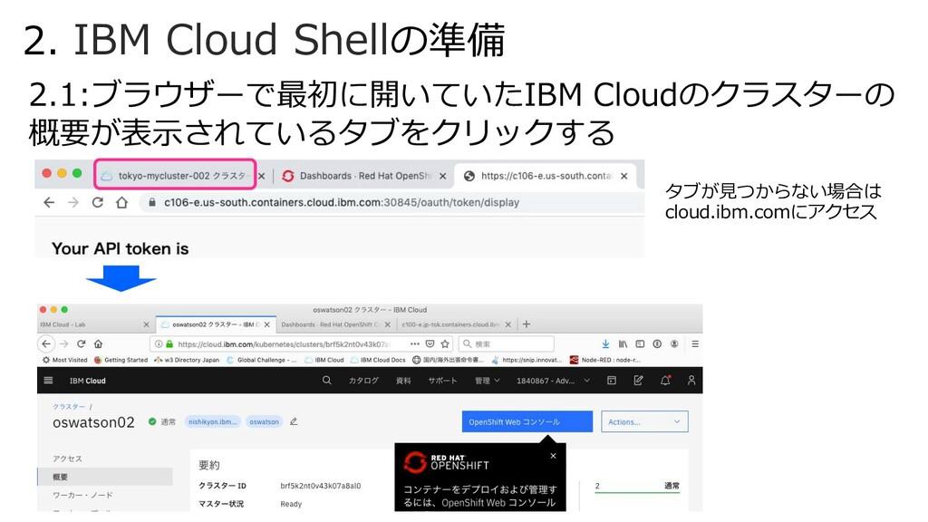2. IBM Cloud Shellの準備 2.1:ブラウザーで最初に開いていたIBM Clo...