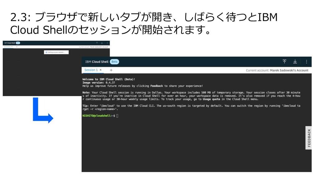 2.3: ブラウザで新しいタブが開き、しばらく待つとIBM Cloud Shellのセッション...