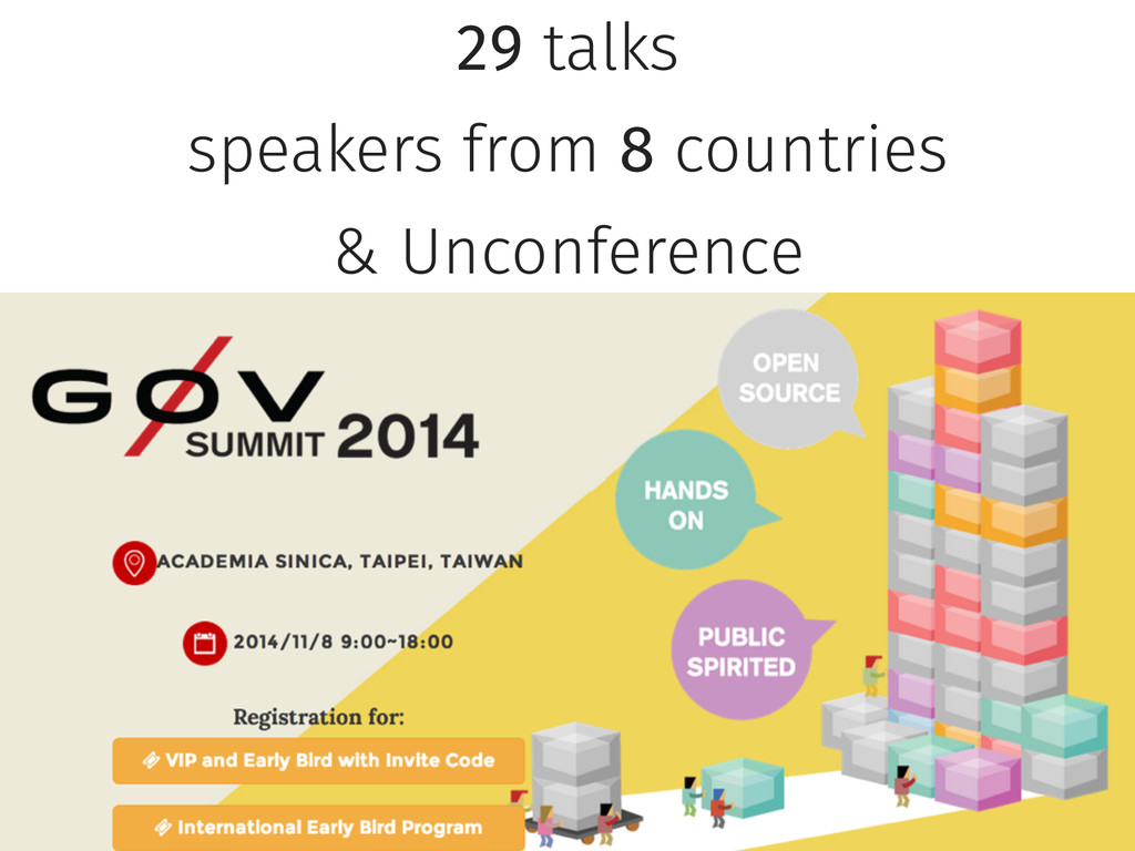 29 talks speakers from 8 countries & Unconferen...