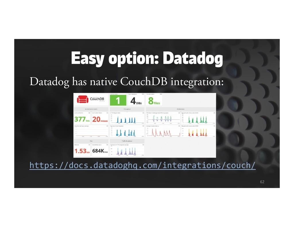 Datadog has native CouchDB integration: https:/...