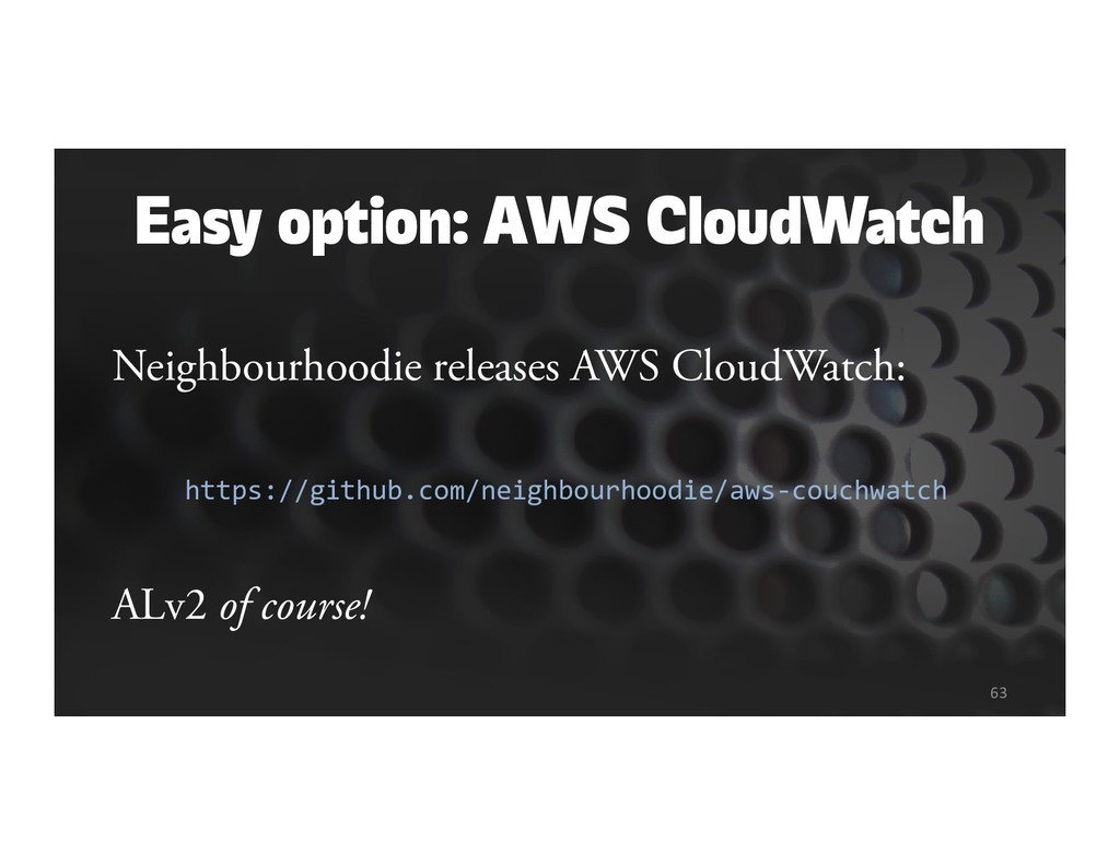 Easy option: AWS CloudWatch Neighbourhoodie rel...