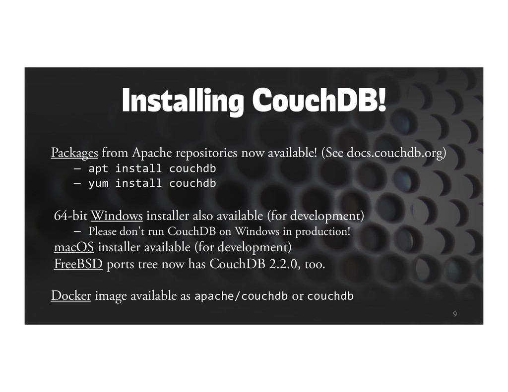Installing CouchDB! Packages from Apache reposi...