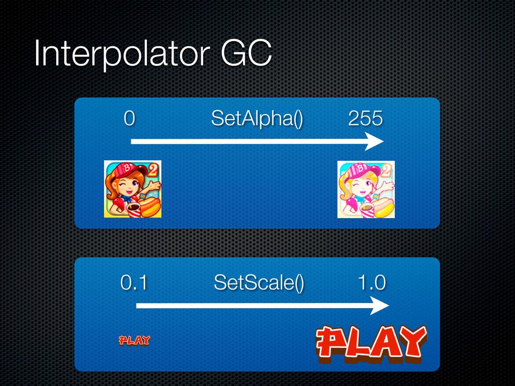 Interpolator GC 0 255 0.1 1.0 SetAlpha() SetSca...