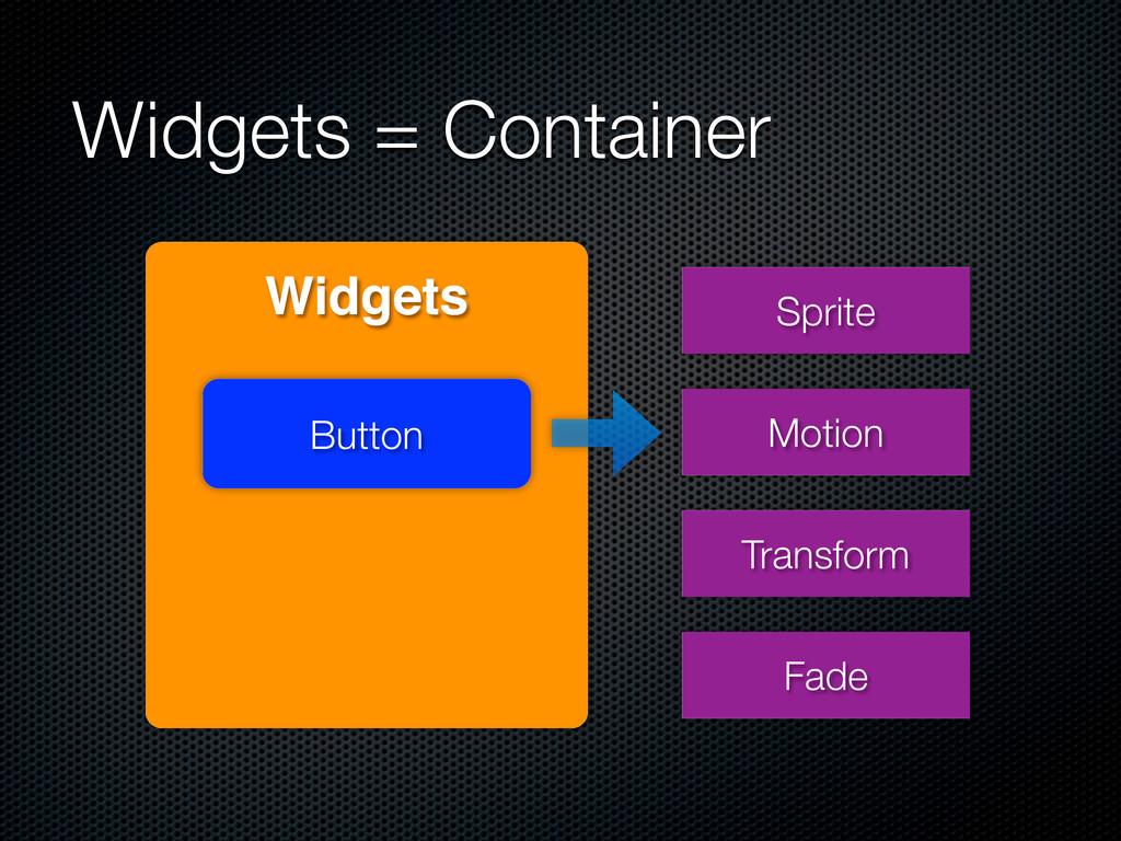 Widgets = Container Widgets Button Sprite Motio...
