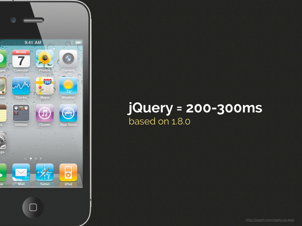 jQuery = 200-300ms based on 1.8.0 http://jsperf...