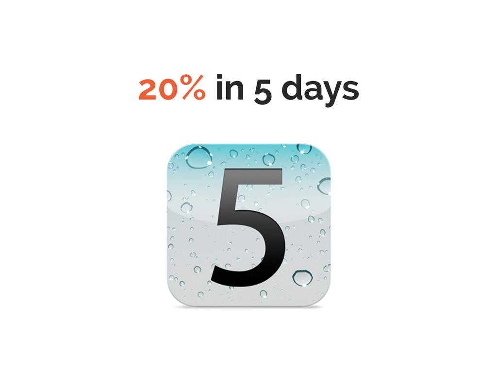 20% in 5 days