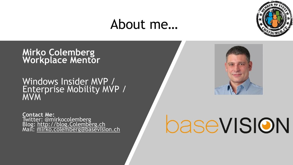 About me… Mirko Colemberg Workplace Mentor Wind...